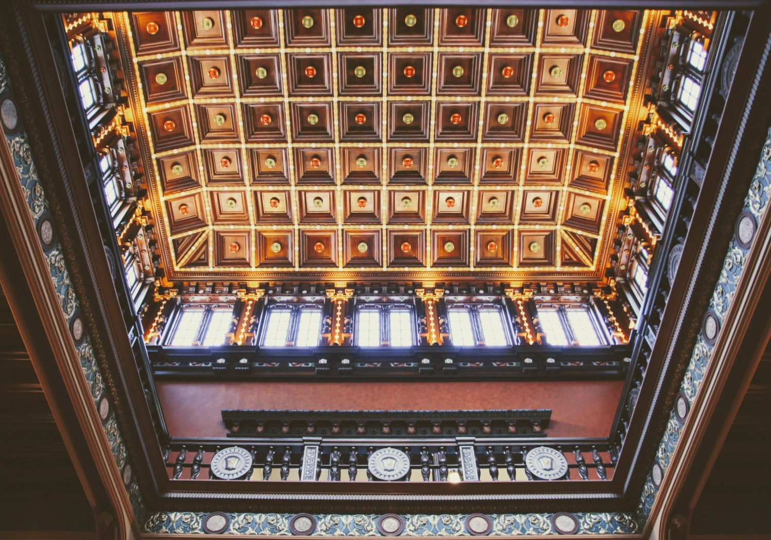 Image of the ceiling at the The Julia Ideson Building in Downtown Houston, Texas