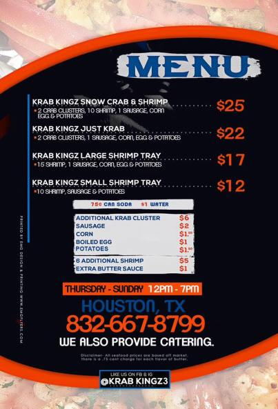 Krab Kings Menu
