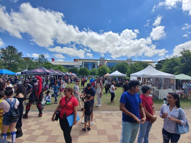 A wide shot of the Spring International Fest in front of the George R. Brown Convention Center