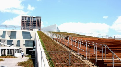 An image of the BBVA Compass Roof Garden, a sloping, walkable green roof offering dramatic views of the Sarofim campus