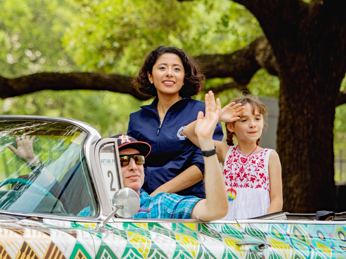 Harris County Judge Lina Hildago at the Houston Art Car Parade.