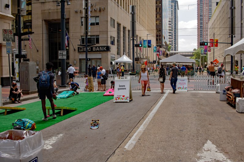 """Lawn"" games on Main Street (Photo: Lauriston Brewster/Bayou Current)"